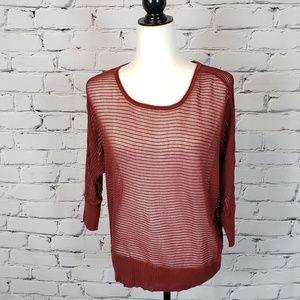 Eileen Fisher Dark Red Open Knit Top